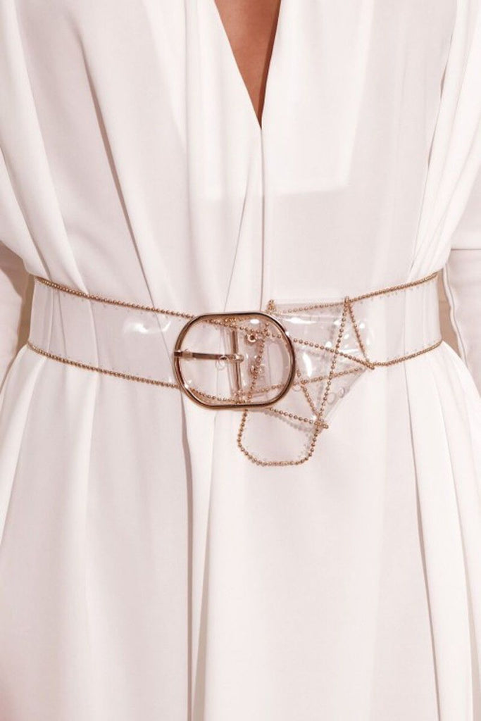 Womens PVC Clear Transparent Belt Metal Ring Buckle Clothes Access Fashion