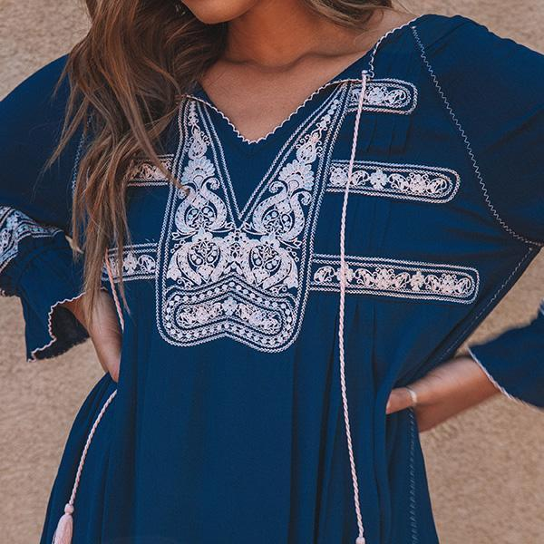 Bohemian V Neck Tassel Vacation Dresses