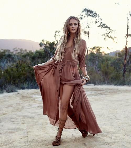 Bohemia Gypsy Beach Button Maxi Dress