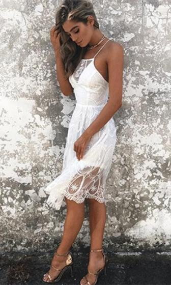 Lace Spaghetti Strap Square Neck X Back A Line Midi Dress