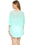 V-neckline Short Sleeves Beach Cover Up Top
