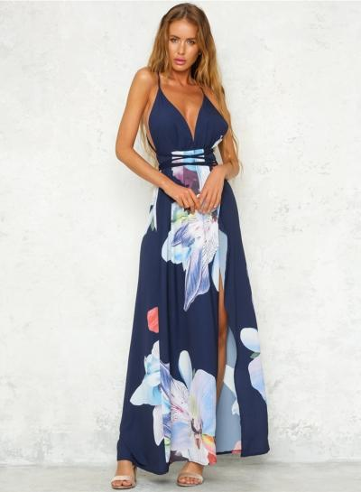 Women's V Neck Backless High Slit Floral Maxi Boho Dress