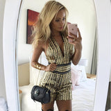 Sexy V Neck Gold Sequin Jumpsuit