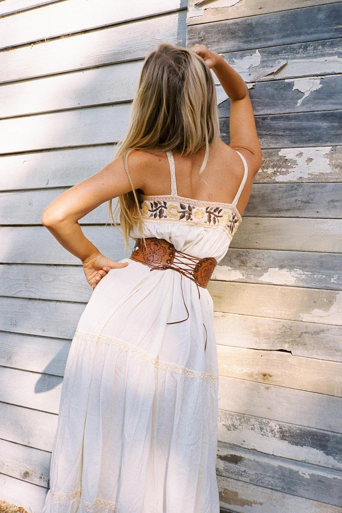 Bohemia Beach Embroidered Flowing Sling Long Dress