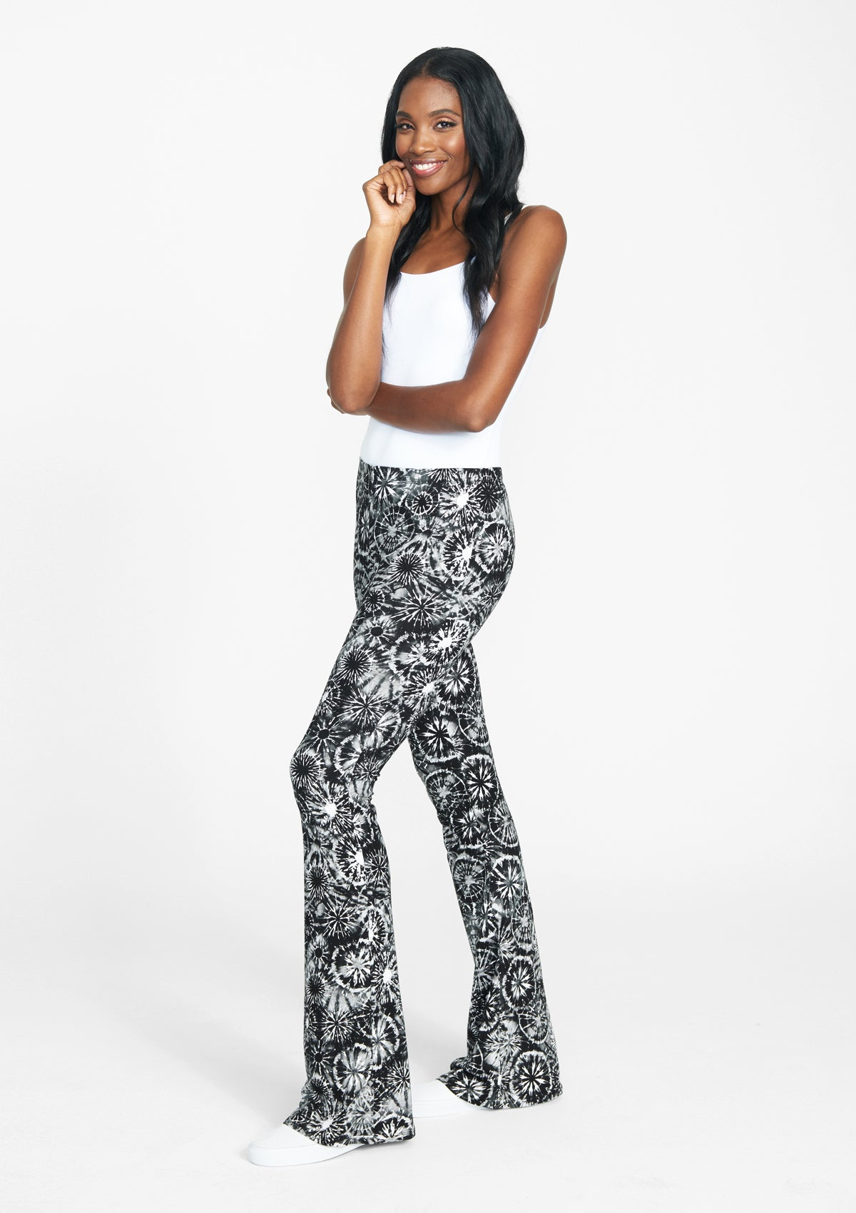 Alloy Apparel Tall Elana Printed Pants for Women in Black Tie Dye Size M   Polyester