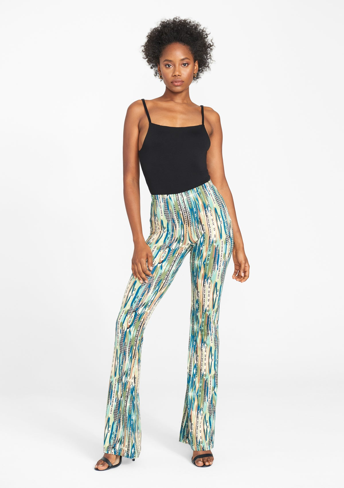 Alloy Apparel Tall Elana Printed Flare Pants for Women in Mint Print Size S   Polyester