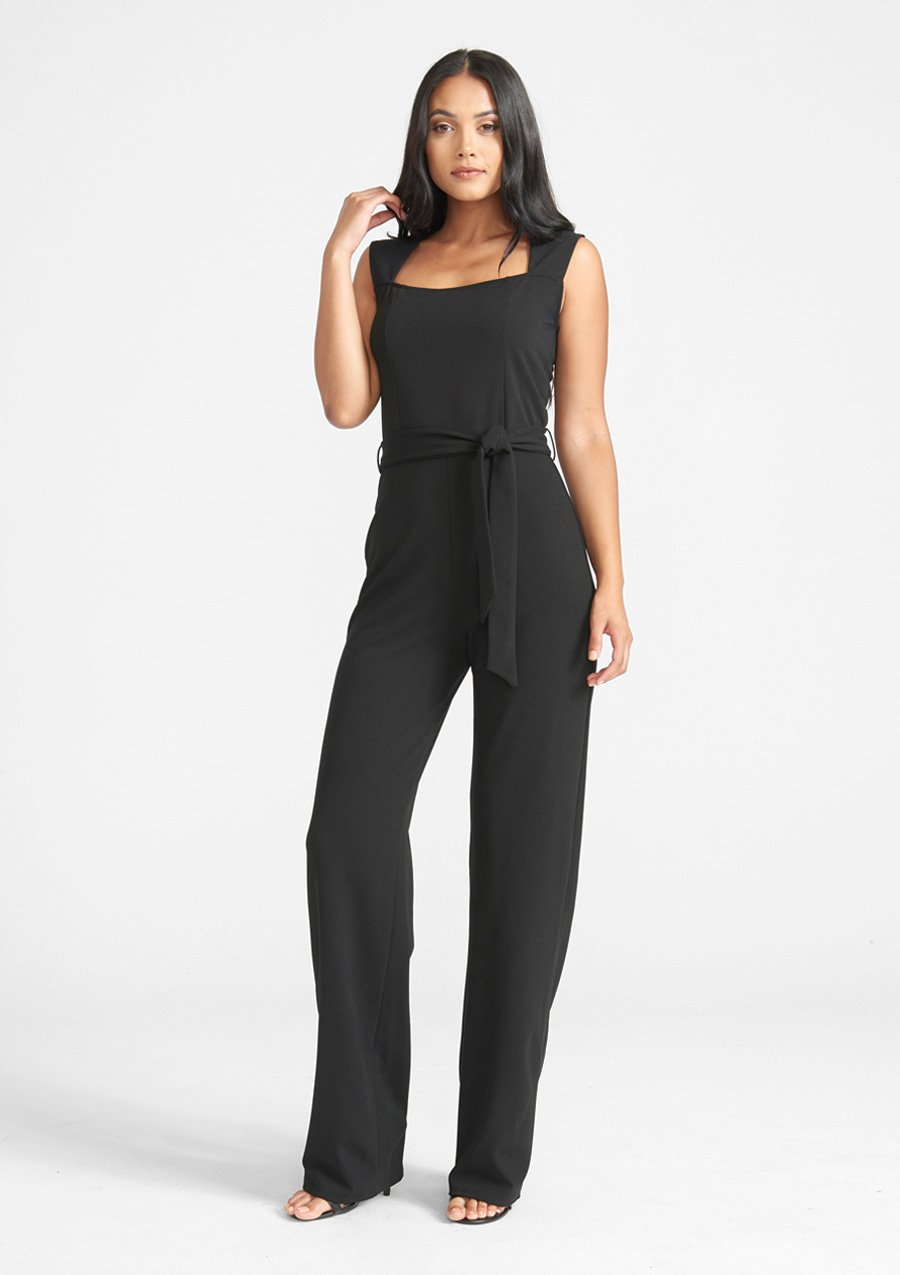Alloy Apparel Tall Ava Jumpsuit 2.0 for Women in Black Size S   Polyester