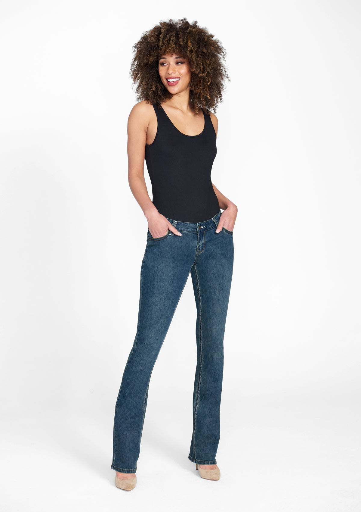 Alloy Apparel Tall Avery Bootcut Plus Size Jeans for Women in Dark Vintage Wash Size 12 length 35 | Cotton