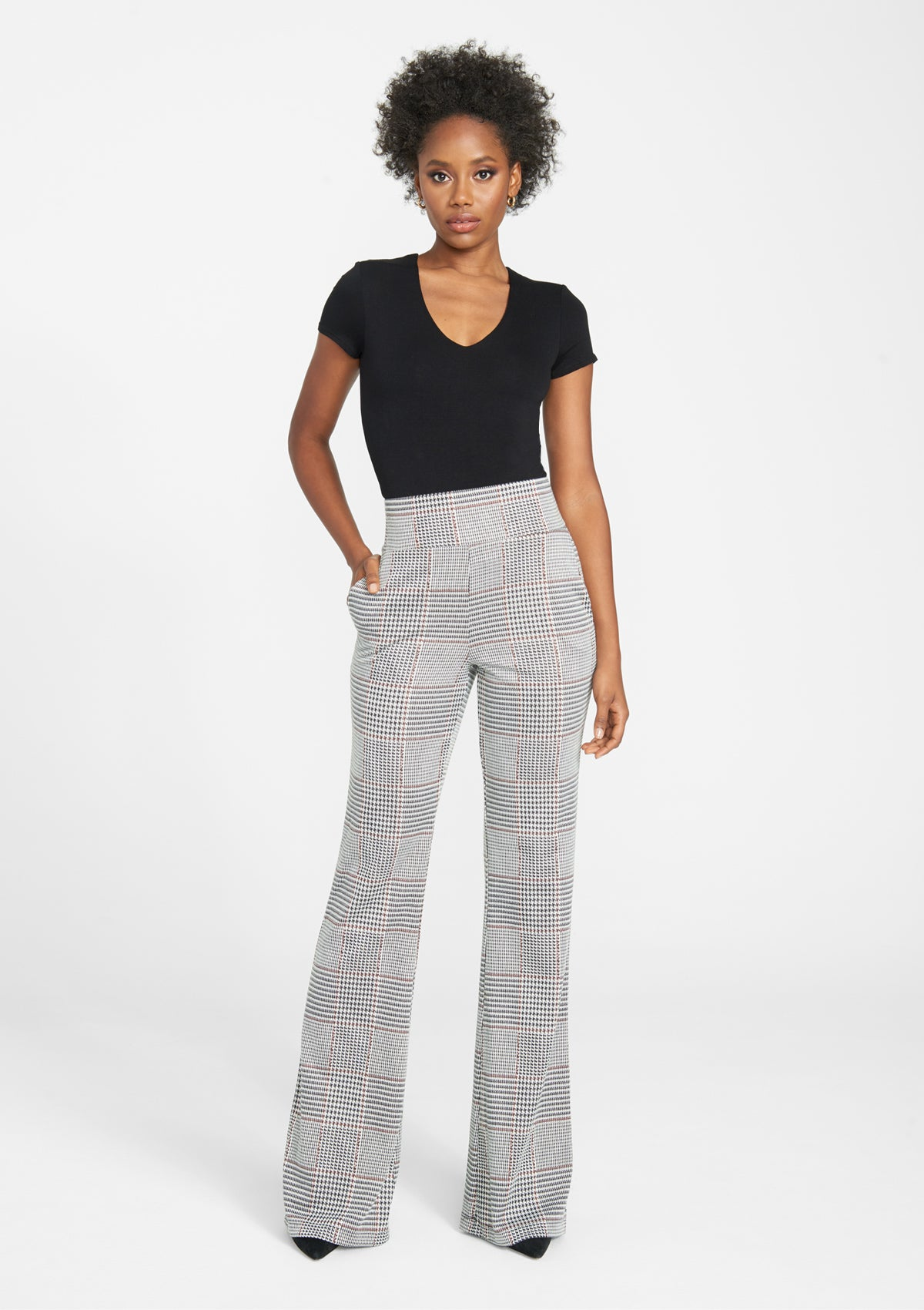 Alloy Apparel Tall Booty Knit Flare Pants for Women in Black Wine Size 2XL   Polyester