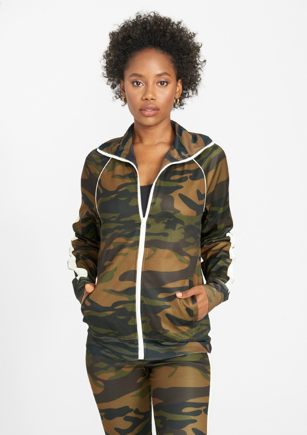 Alloy Apparel Tall Track Jacket for Women in Camo Ivory Size L   Polyester