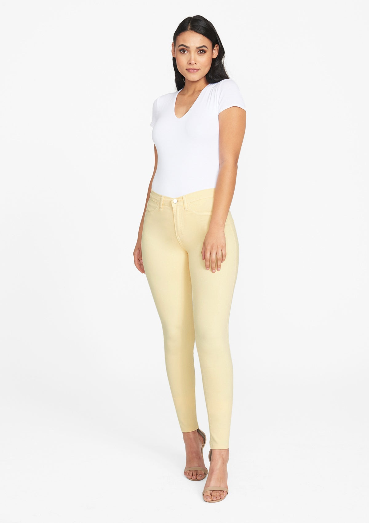 Alloy Apparel Tall Stretch Twill Plus Size Jean Leggings for Women in Sunlight Size 4 length 37   Cotton