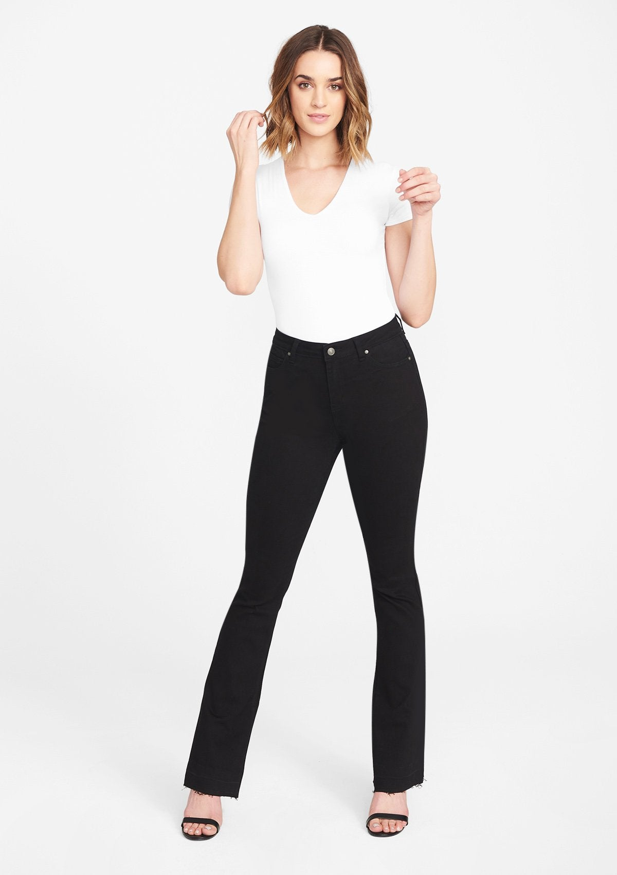 Alloy Apparel Tall High Waist Flare Jeans for Women in Black Size 20 length 37 | Cotton