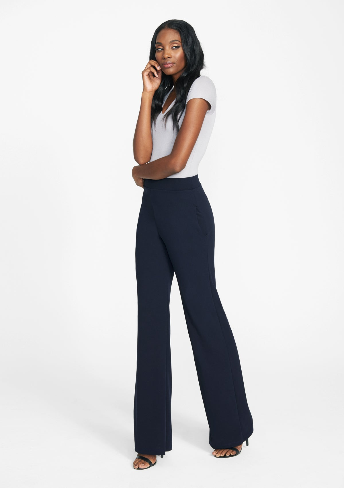 Alloy Apparel Tall Cassie Flare Pants for Women in Navy Size S   Polyester