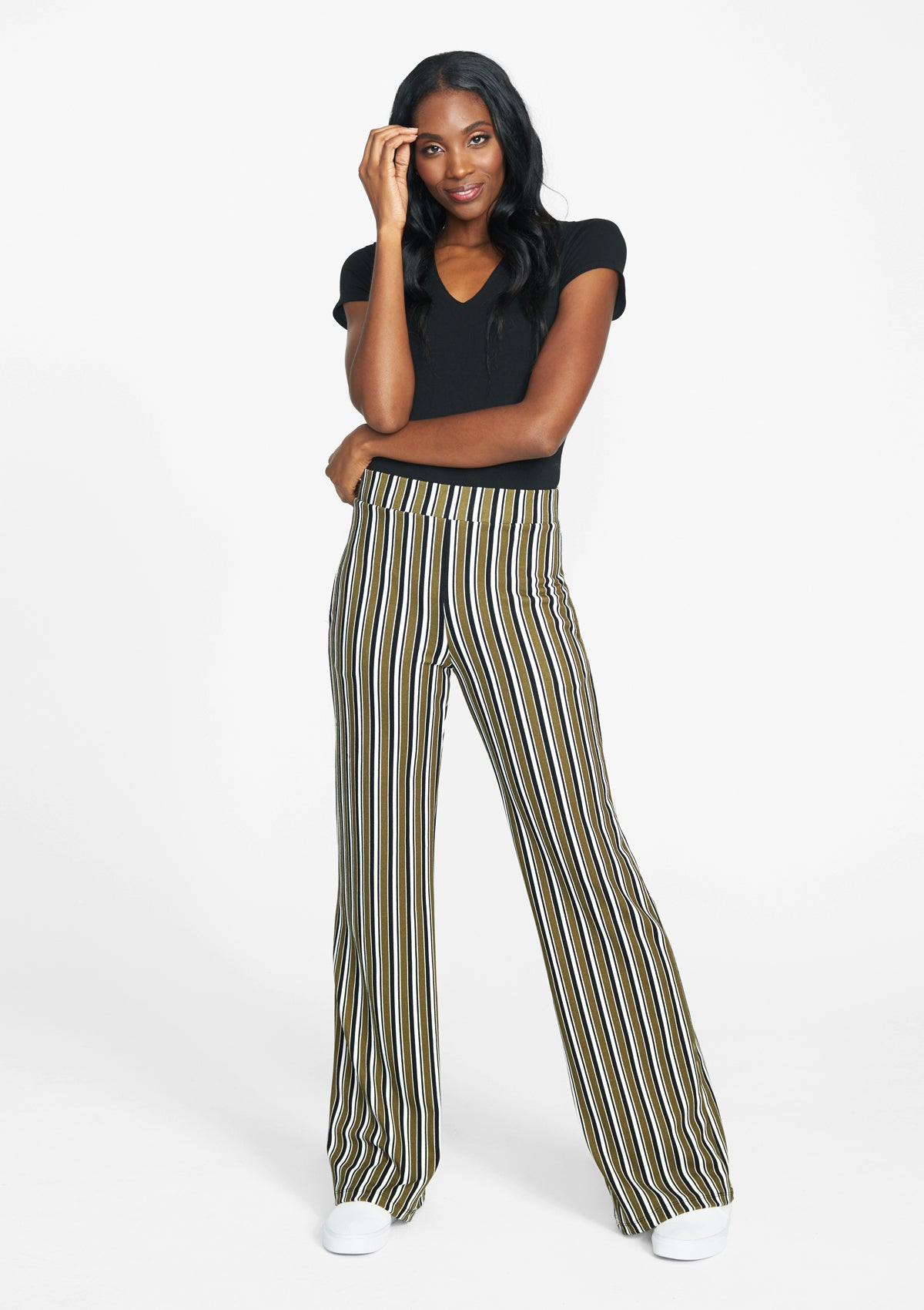 Alloy Apparel Tall Cassie Flare Pants for Women in Olive Stripe Size L   Polyester