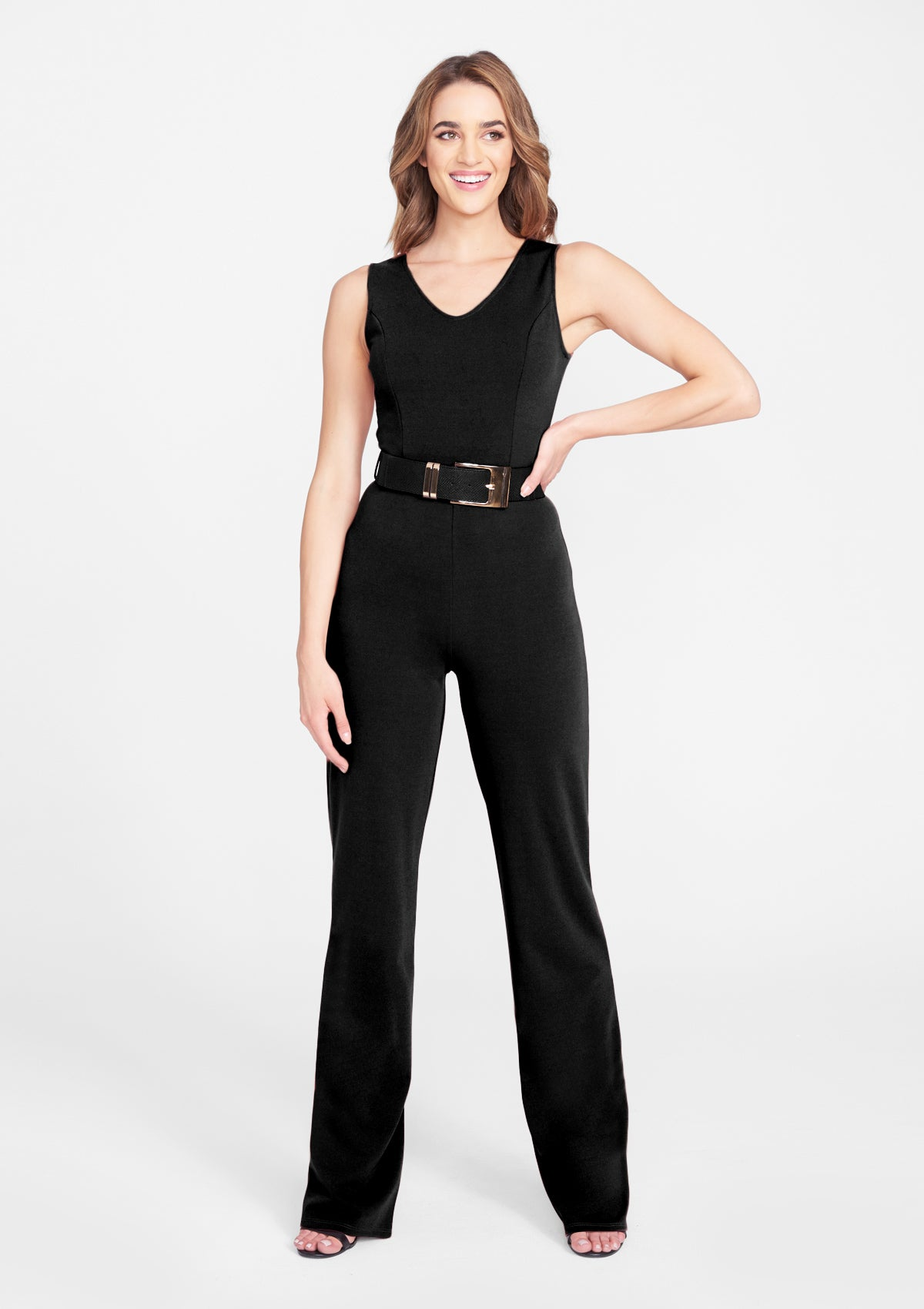 Alloy Apparel Tall Crepe Jumpsuit for Women in Black Size XL   Polyester