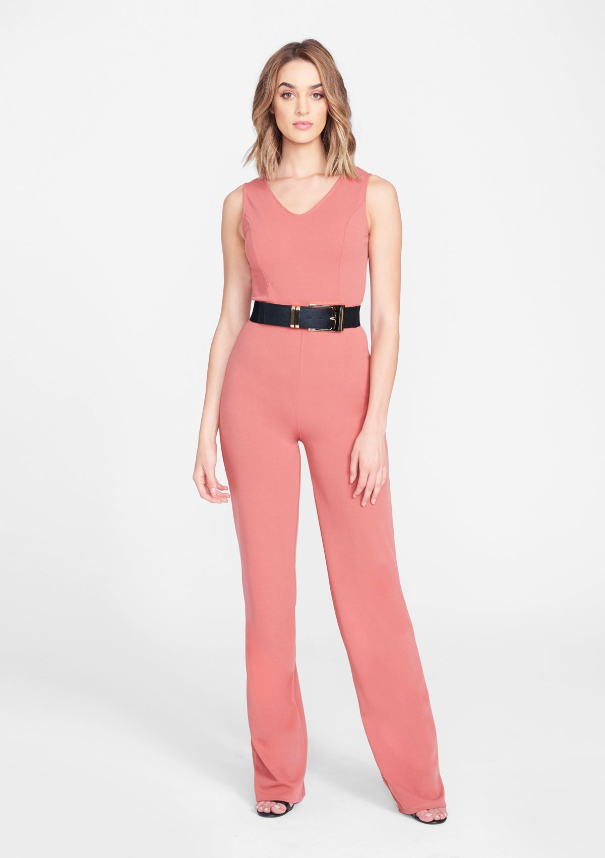Alloy Apparel Tall Crepe Jumpsuit for Women in Dark Rose Size S   Polyester