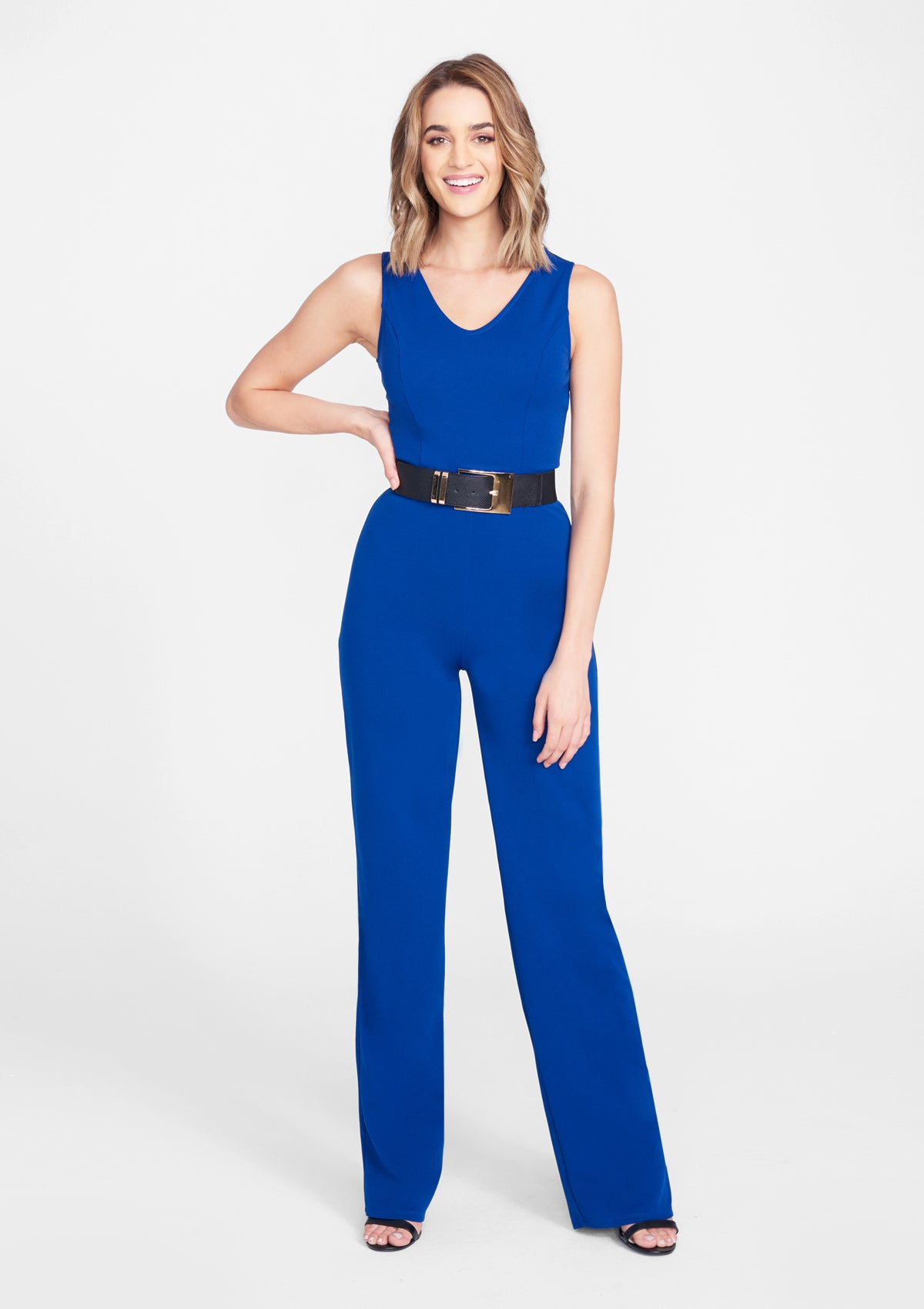 Alloy Apparel Tall Crepe Jumpsuit for Women in Royal Size M   Polyester