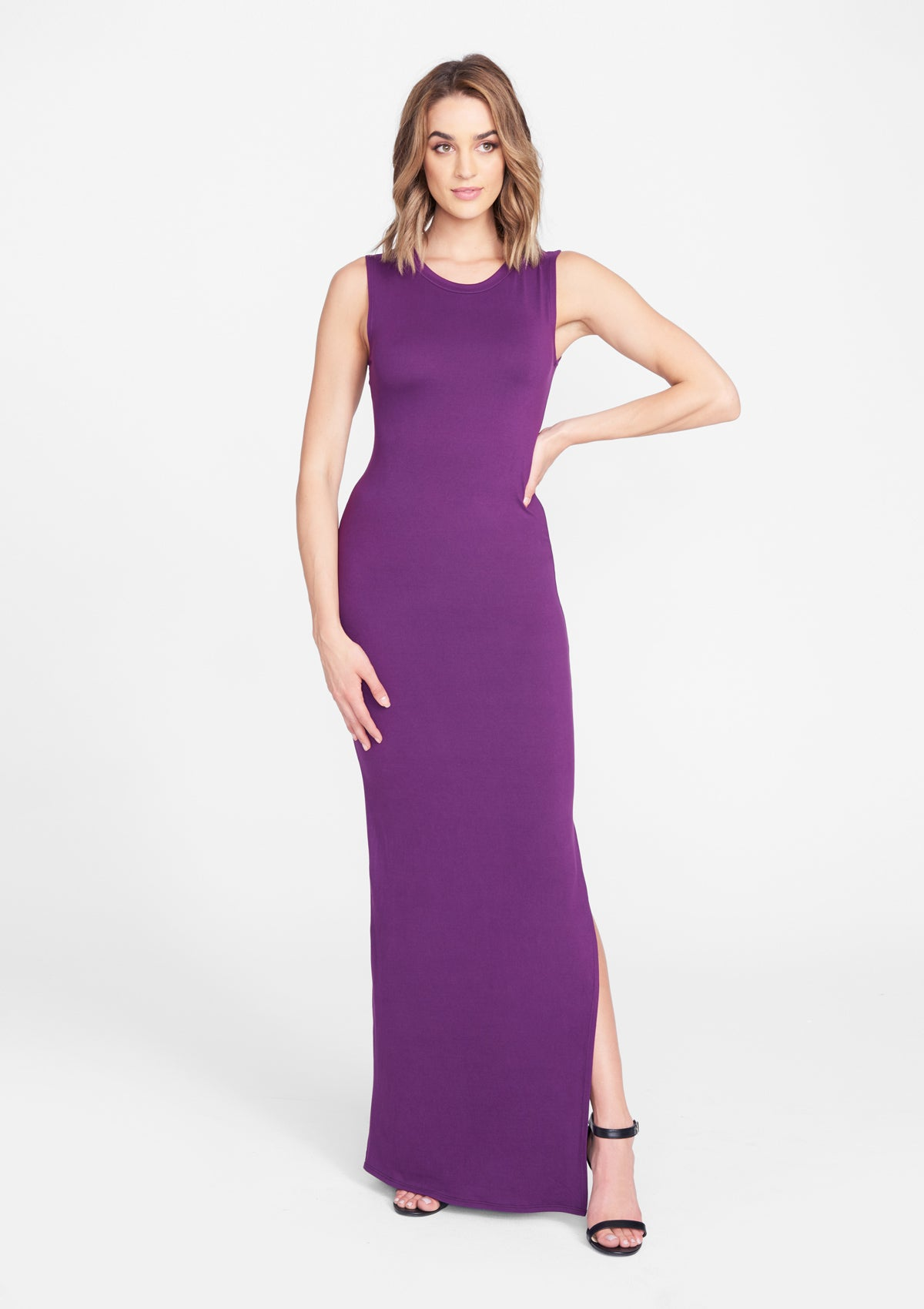 Alloy Apparel Tall Contour Muscle Dress for Women in Eggplant Size L   Polyester