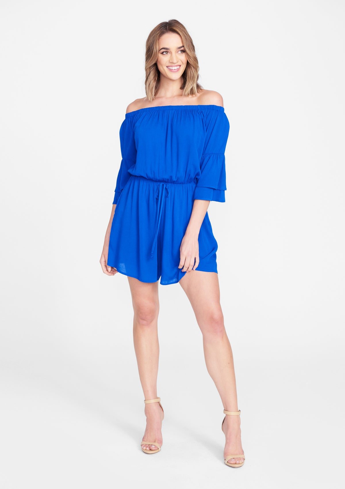Alloy Apparel Tall Drop Shoulder Romper for Women in Royal Size L   Polyester