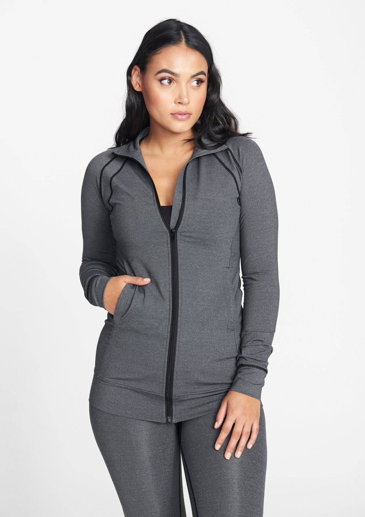 Alloy Apparel Tall Full Zip Active Jacket for Women in Heather Grey Size M   Polyester