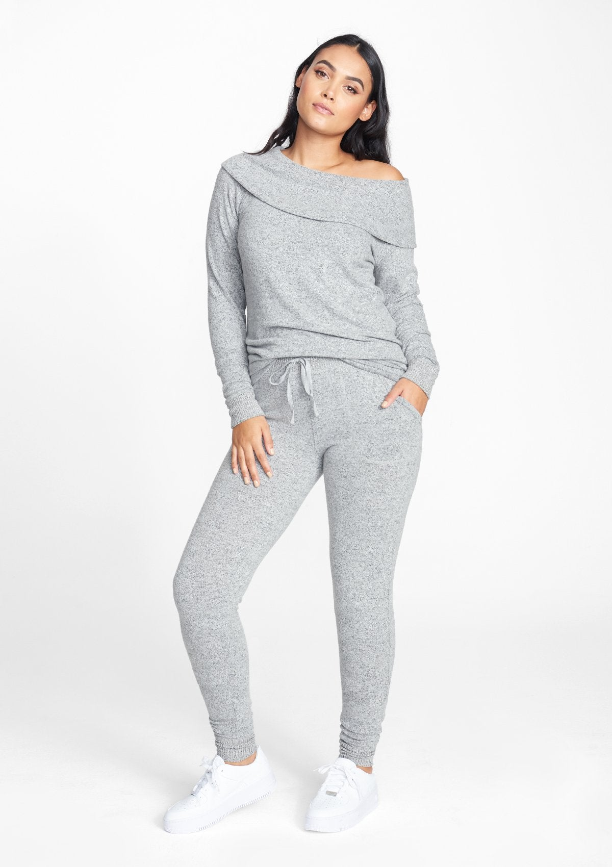 Alloy Apparel Tall Super Soft Joggers for Women in Heather Grey Size M   Rayon