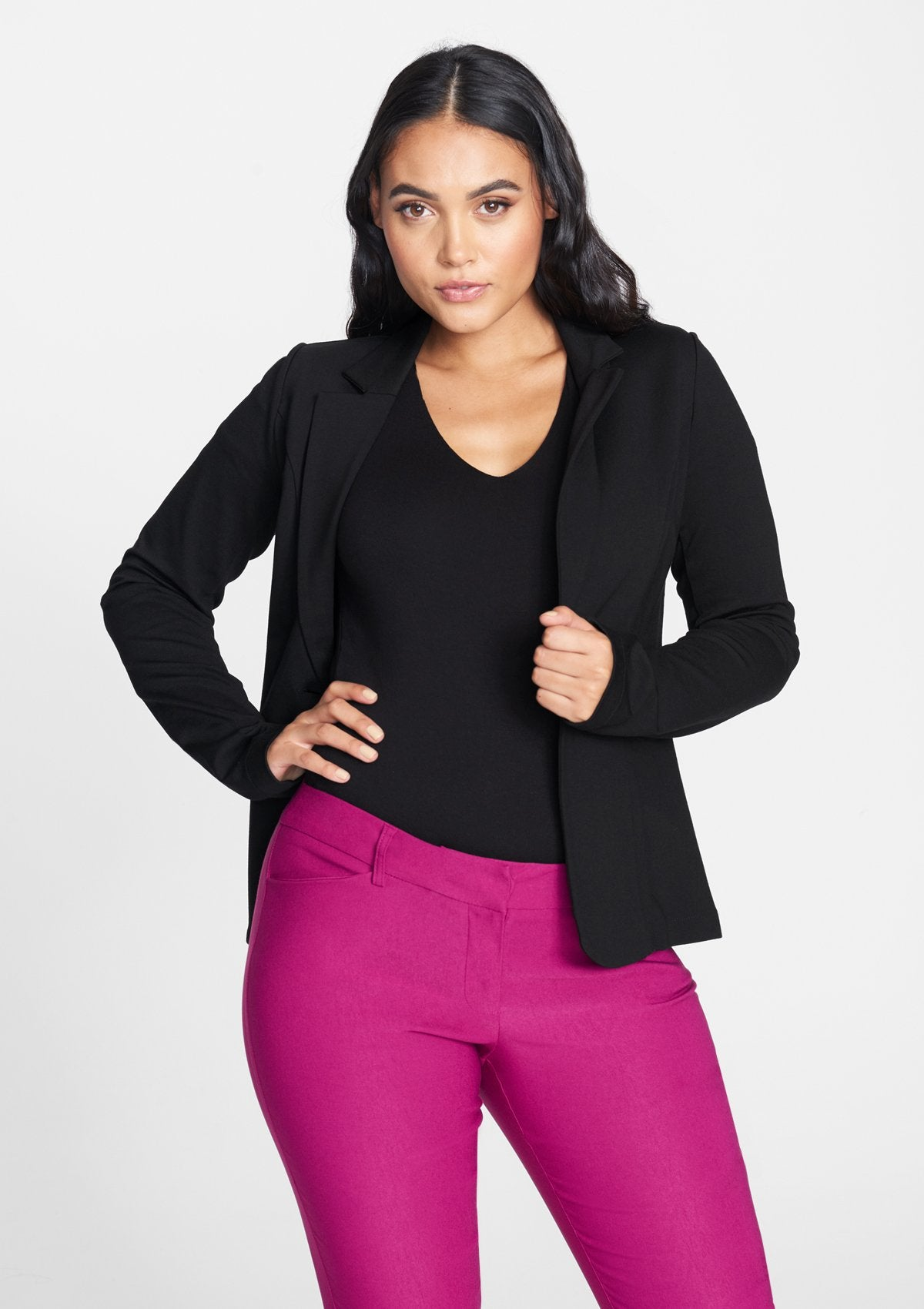 Alloy Apparel Tall Knit Blazer for Women in Black Size L   Rayon