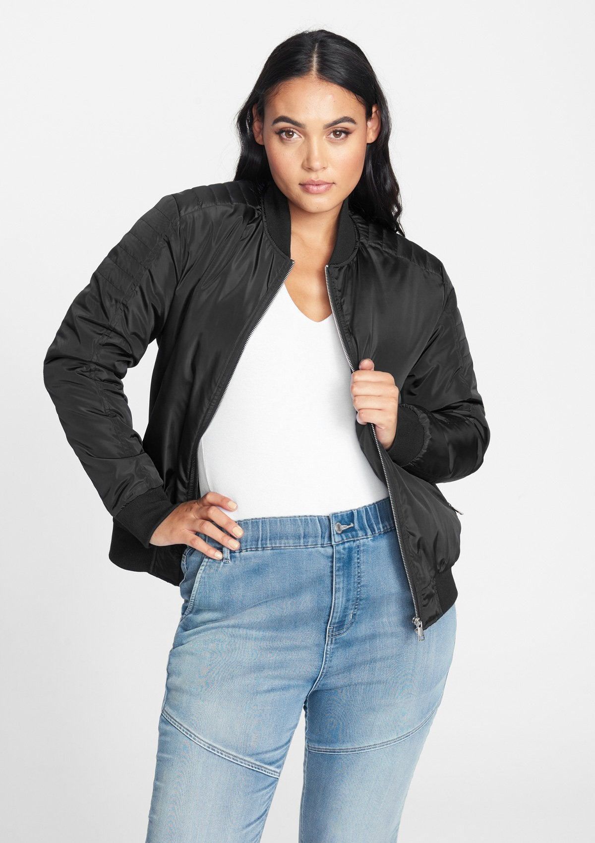 Alloy Apparel Tall Bomber Jacket for Women in Black Size S   Polyester