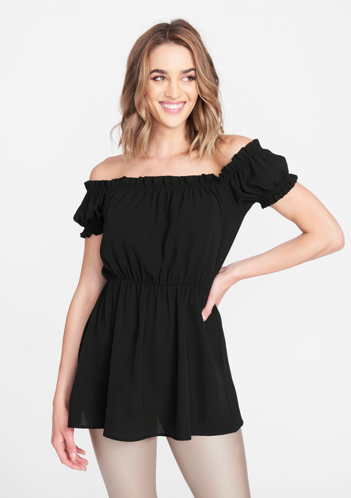 Alloy Apparel Tall Drop Shoulder Blouse for Women in Black Size S   Polyester