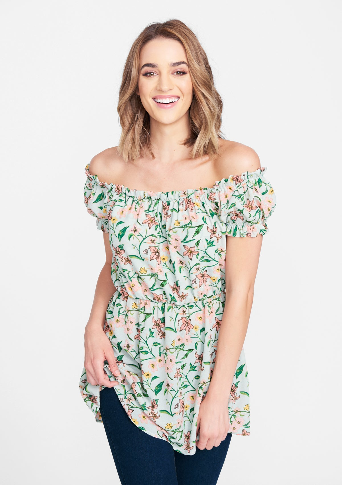 Alloy Apparel Tall Drop Shoulder Blouse for Women in Dark Sage Floral Size XL   Polyester