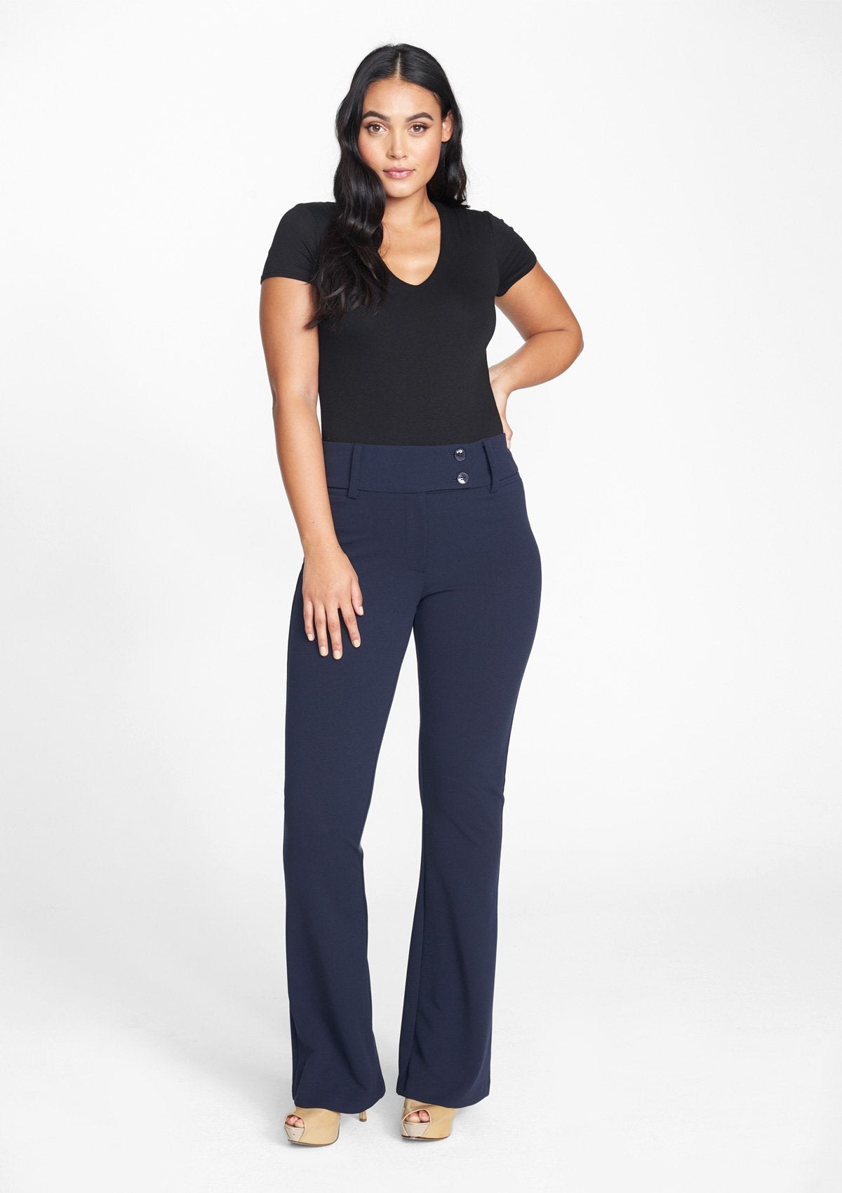 Alloy Apparel Tall Stanton Flare Pants for Women in Navy Size 12 length 37   Polyester
