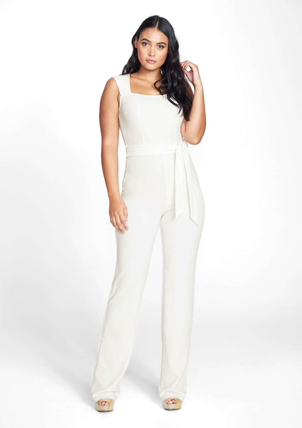 Alloy Apparel Tall Ava Jumpsuit 2.0 for Women in Ivory Size XL   Polyester