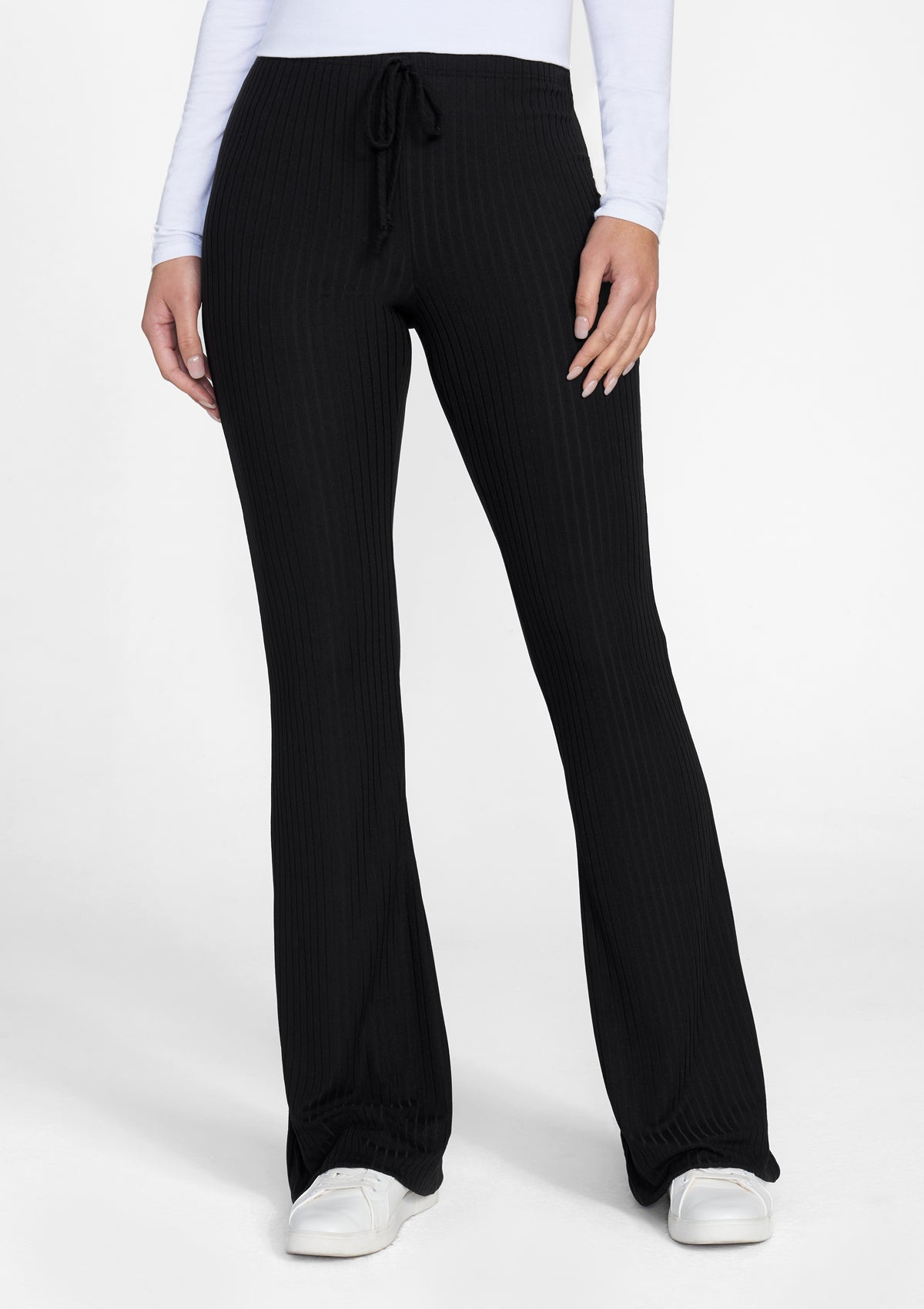 Alloy Apparel Tall Elana Tie Rib Knit Pants for Women in Black Size XL   Polyester