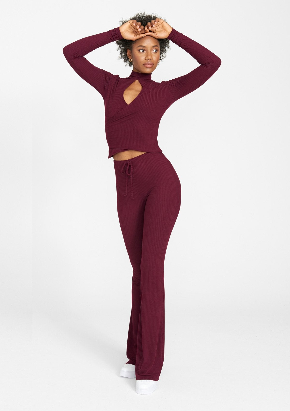 Alloy Apparel Tall Elana Tie Rib Knit Pants for Women in Wine Size S   Polyester