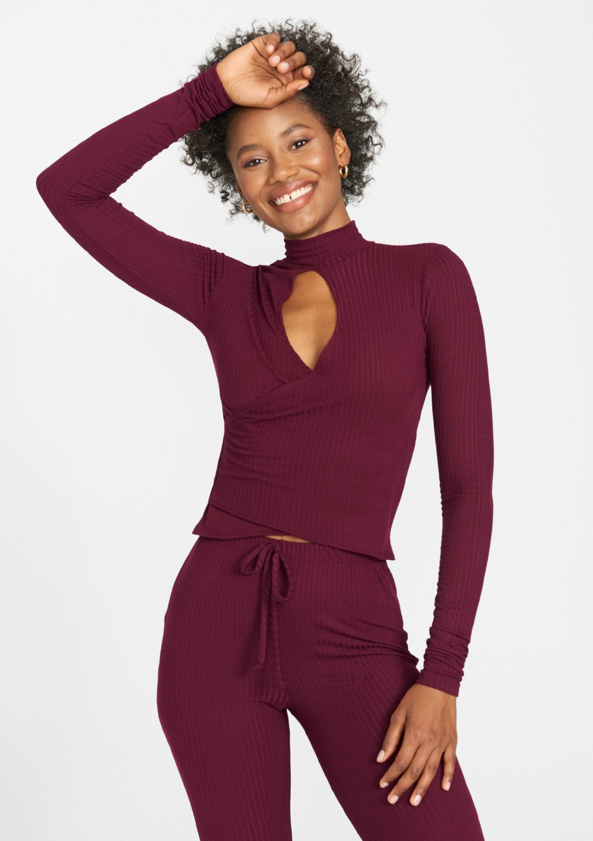 Alloy Apparel Tall Rib Knit Long Sleeve Cropped Top for Women in Wine Size M   Polyester