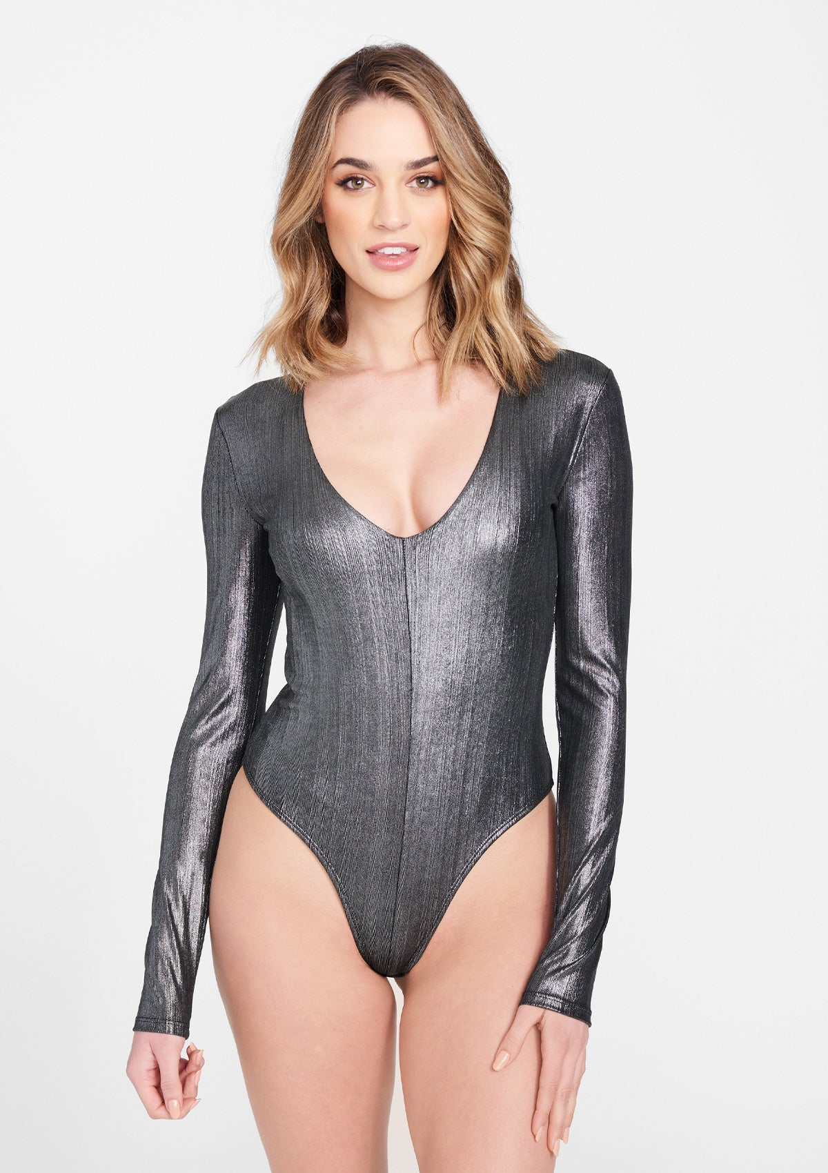 Alloy Apparel Tall Long Sleeve Plunge Bodysuit for Women in Silver Size M   Polyester