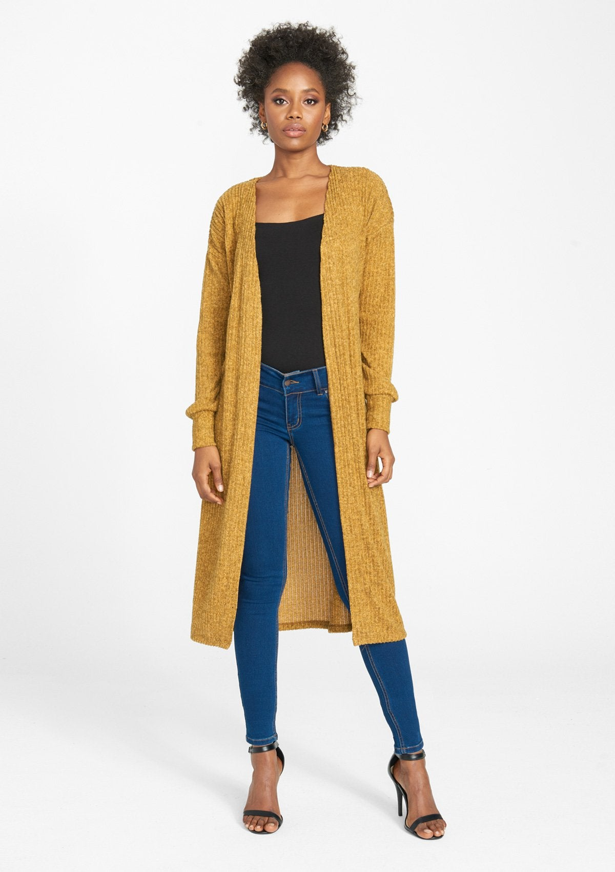 Alloy Apparel Tall Rib Knit Duster for Women in Heather Mustard Size S | Polyester