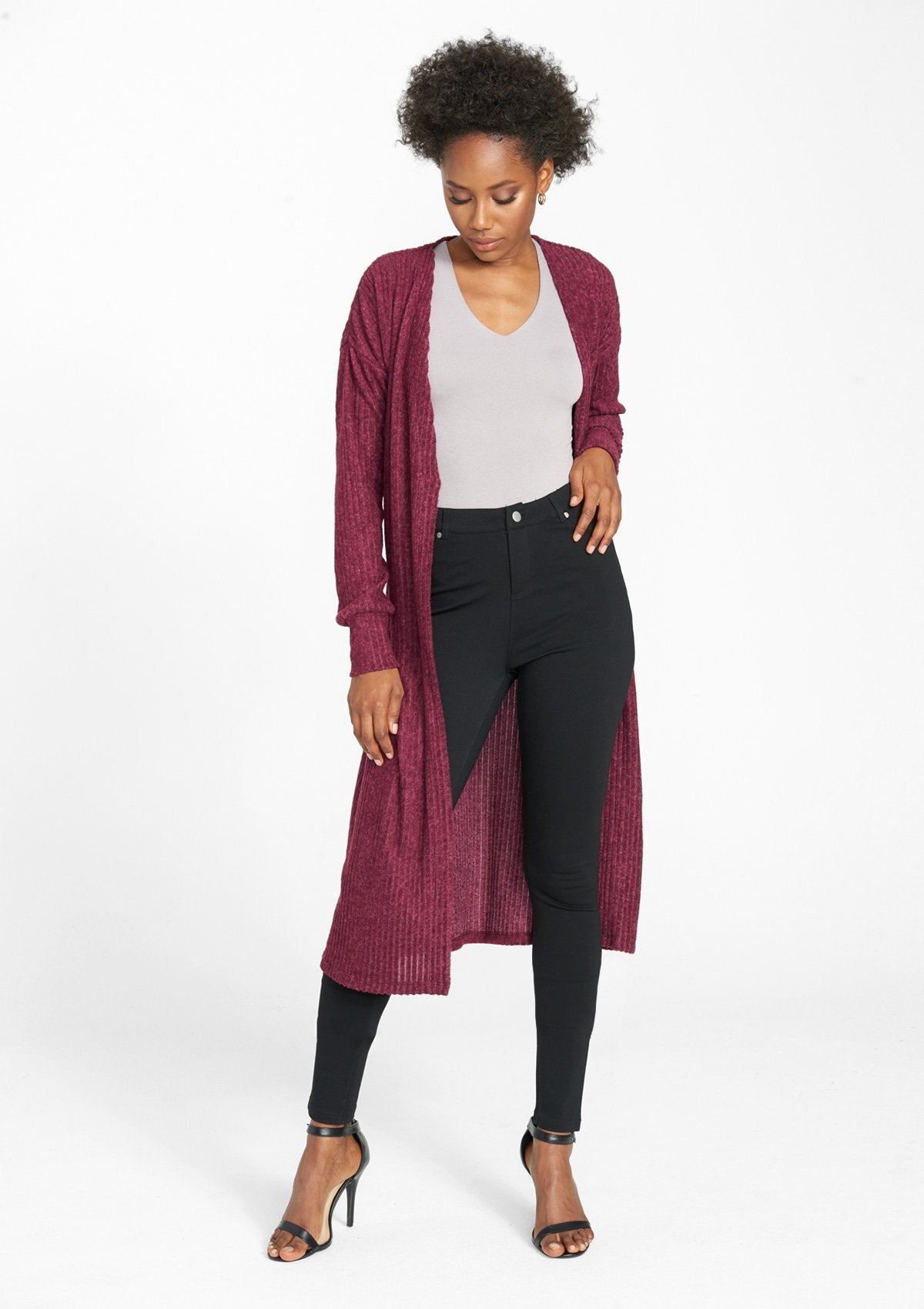 Alloy Apparel Tall Rib Knit Duster for Women in Heather Wine Size 2XL   Polyester