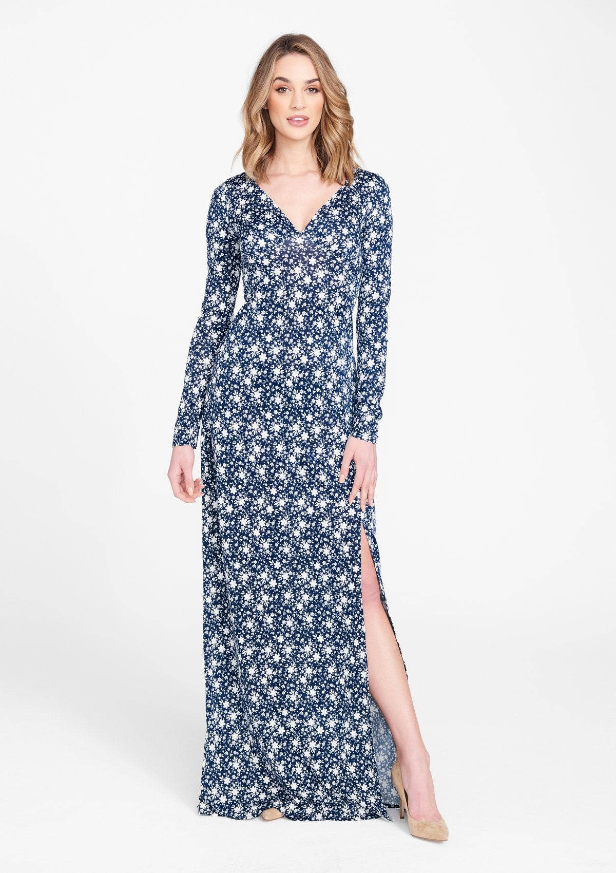 Alloy Apparel Tall Maxi Slit Dress for Women in Navy Print Size L   Polyester