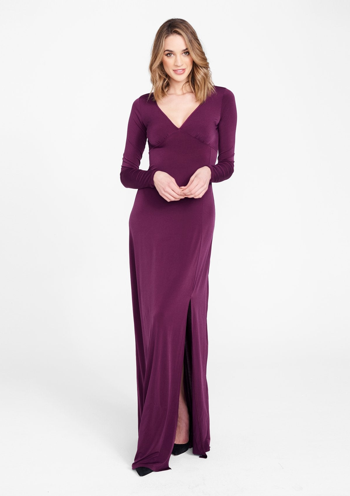 Alloy Apparel Tall Maxi Slit Dress for Women in Plum Size 2XL   Polyester