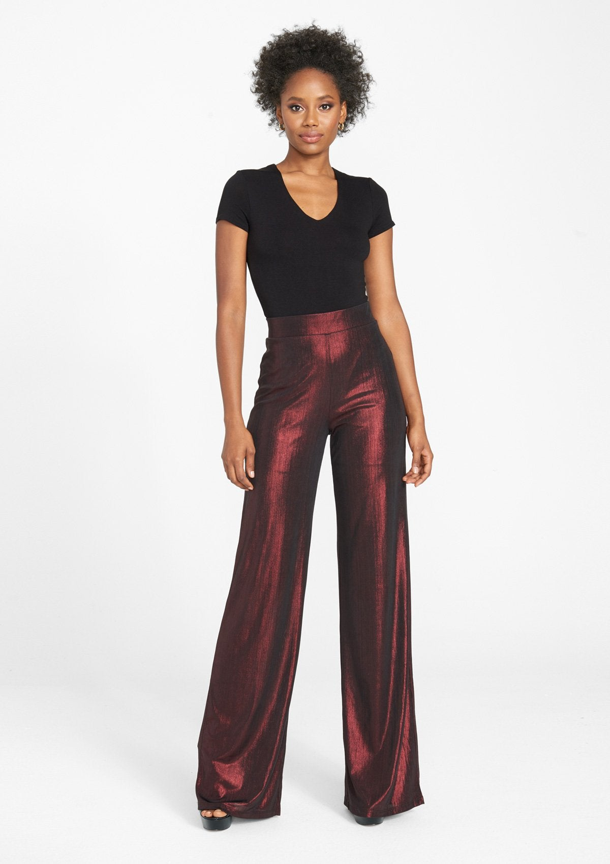 Alloy Apparel Tall Metallic Wide Leg Pant for Women in Burgundy Size XL   Polyester