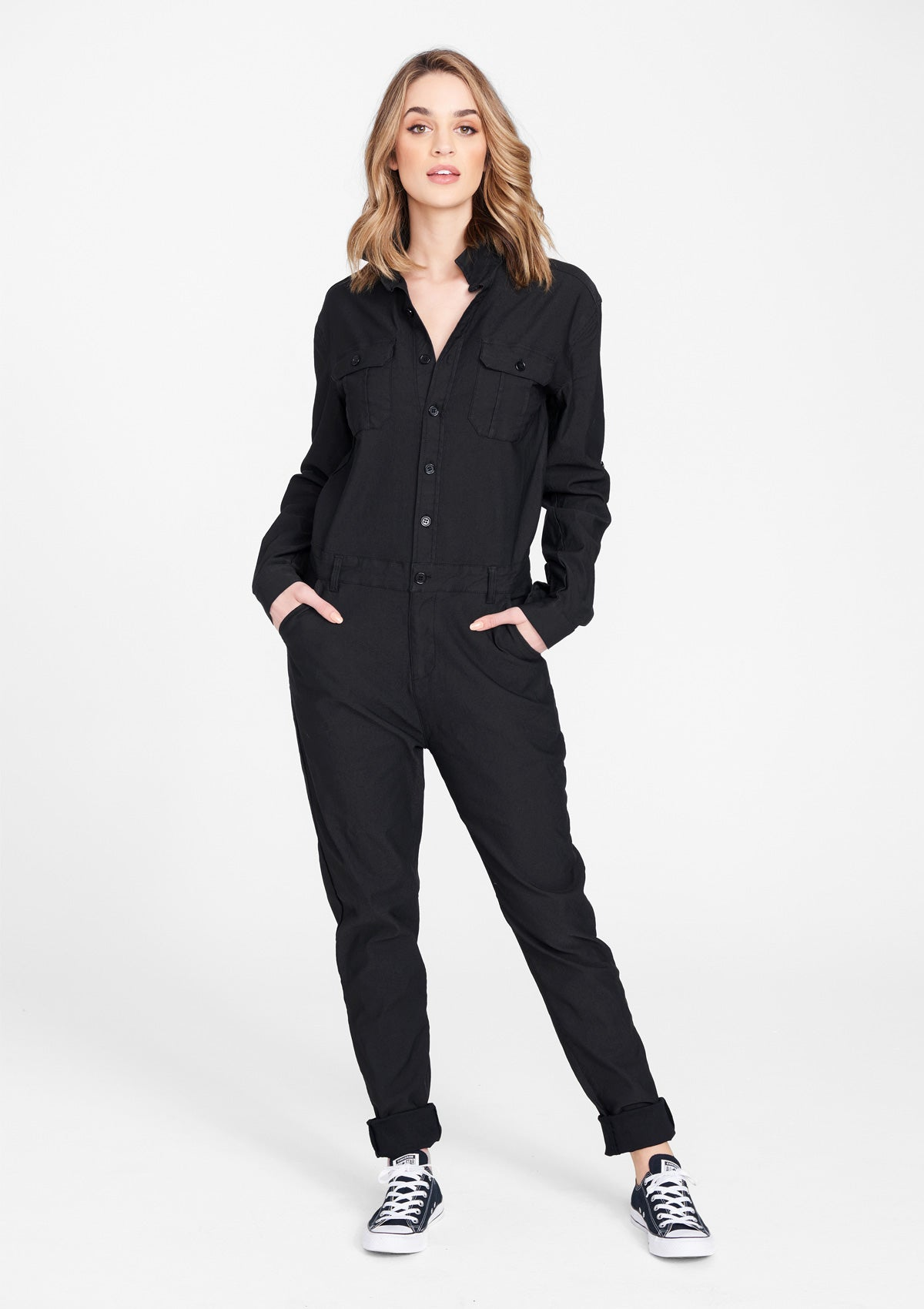 Alloy Apparel Tall Limited Edition Cargo Jumpsuit for Women in Black Size 2XL | Cotton