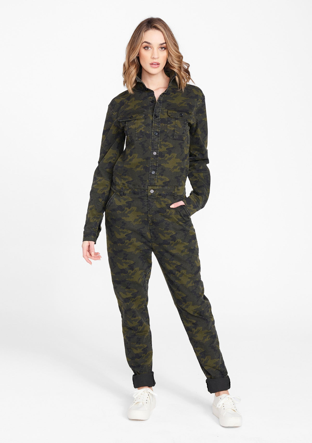 Alloy Apparel Tall Limited Edition Cargo Jumpsuit for Women in Camo Size L   Cotton