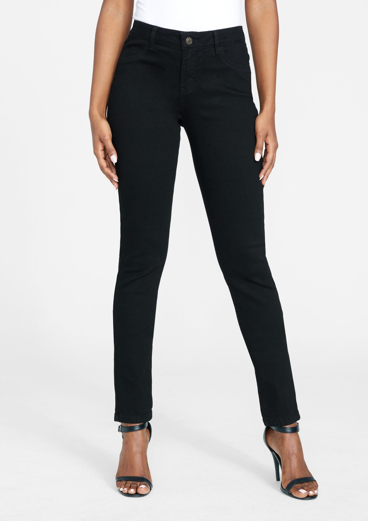 Alloy Apparel Tall Sofia Stretch Plus Size Jean Leggings for Women in Black Size 8 length 35 | Cotton