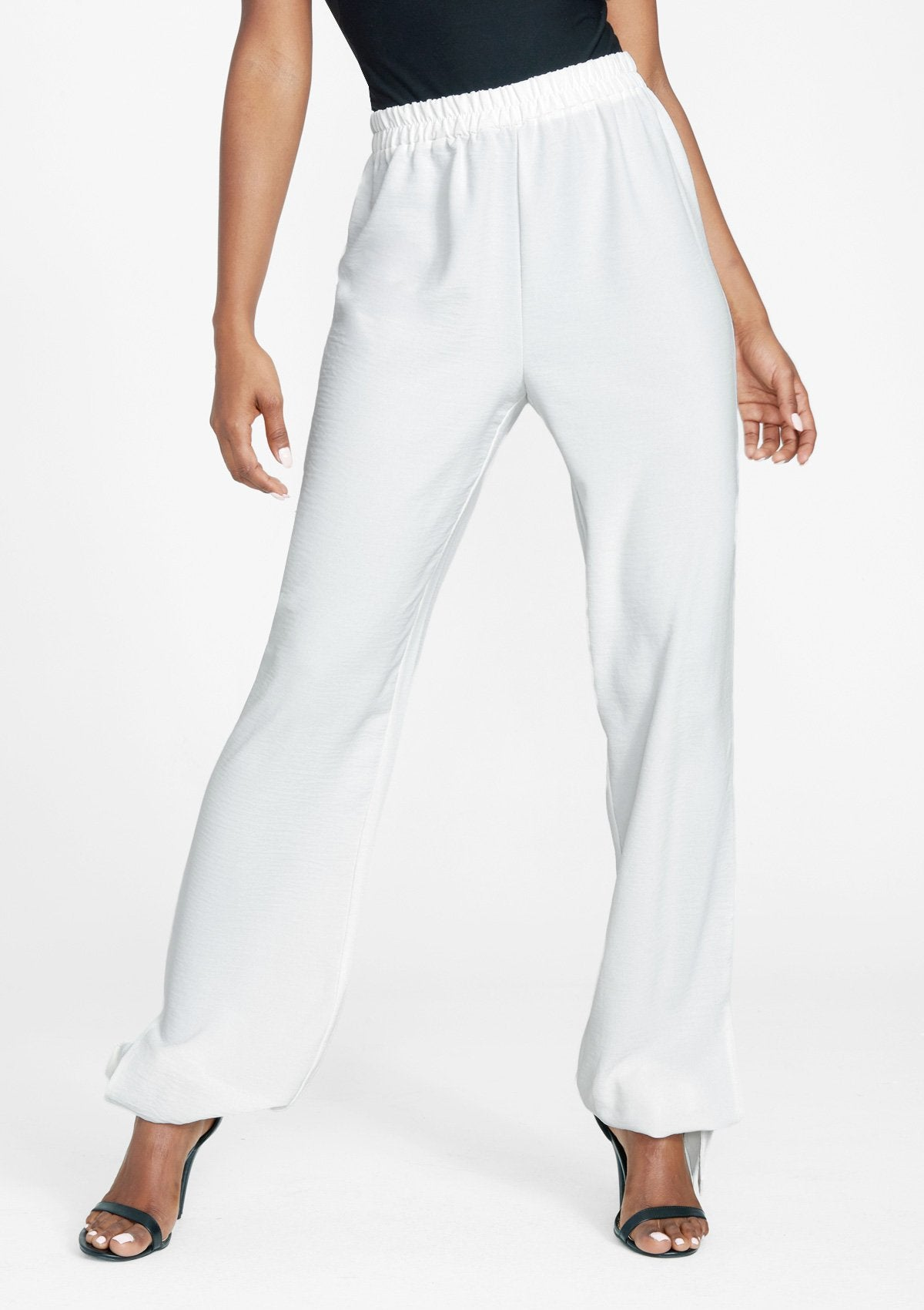 Alloy Apparel Tall Tie Leg Flowy Pants for Women in Off White Size M   Polyester