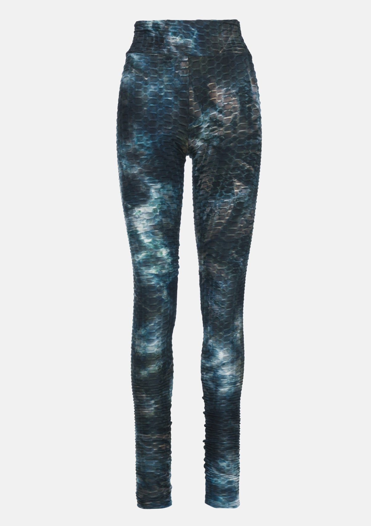 Alloy Apparel Tall Honeycomb Ruched Leggings for Women in Black Tie Dye Size S   Polyester