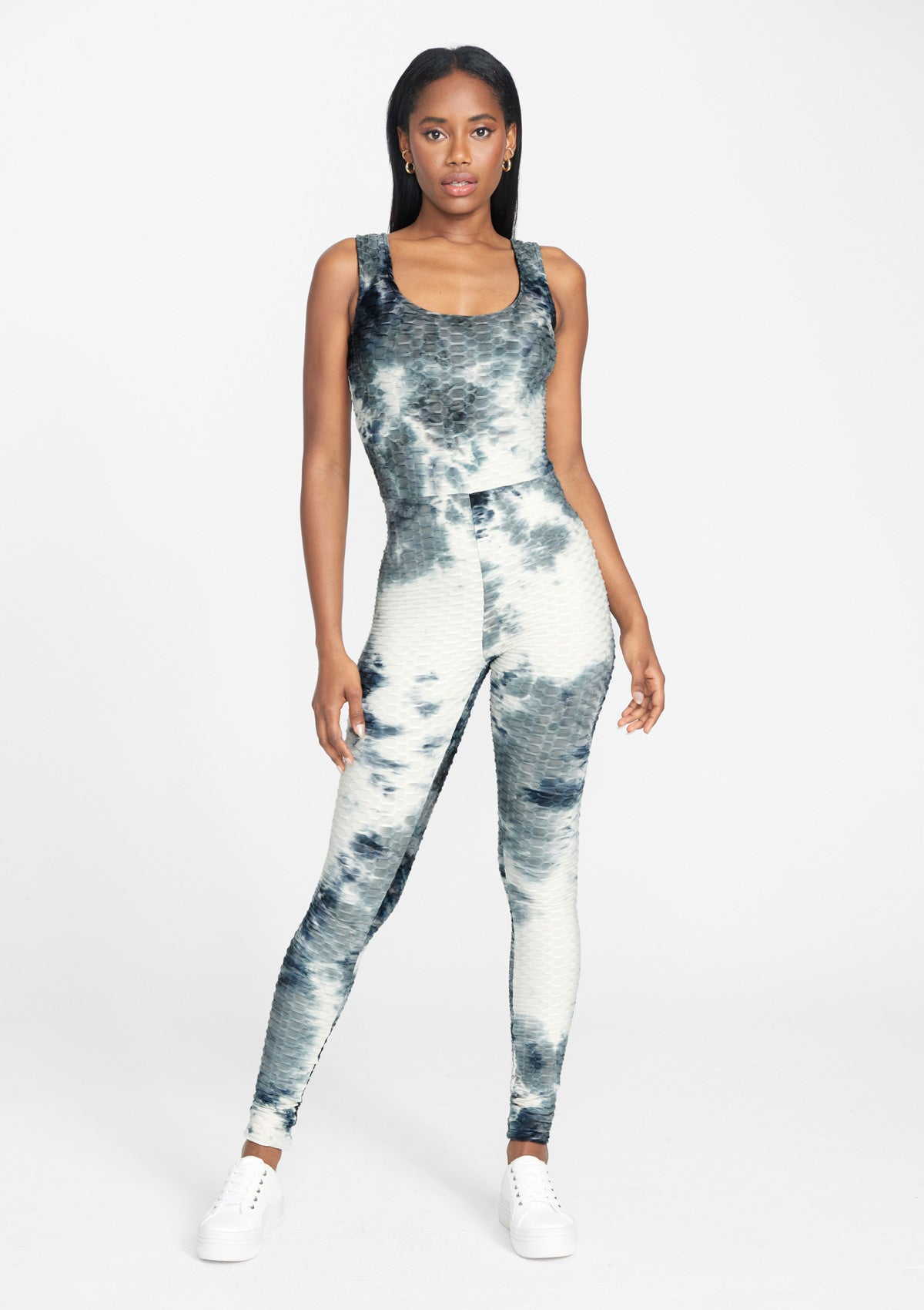 Alloy Apparel Tall Honeycomb Ruched Catsuit for Women in Charcoal Tie Dye Size 2XL   Polyester