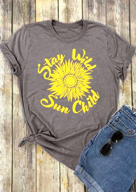402a07894857 ... Stay Wild Sun Child T-Shirt big gold flowers graphic shine tees girl  gift causal