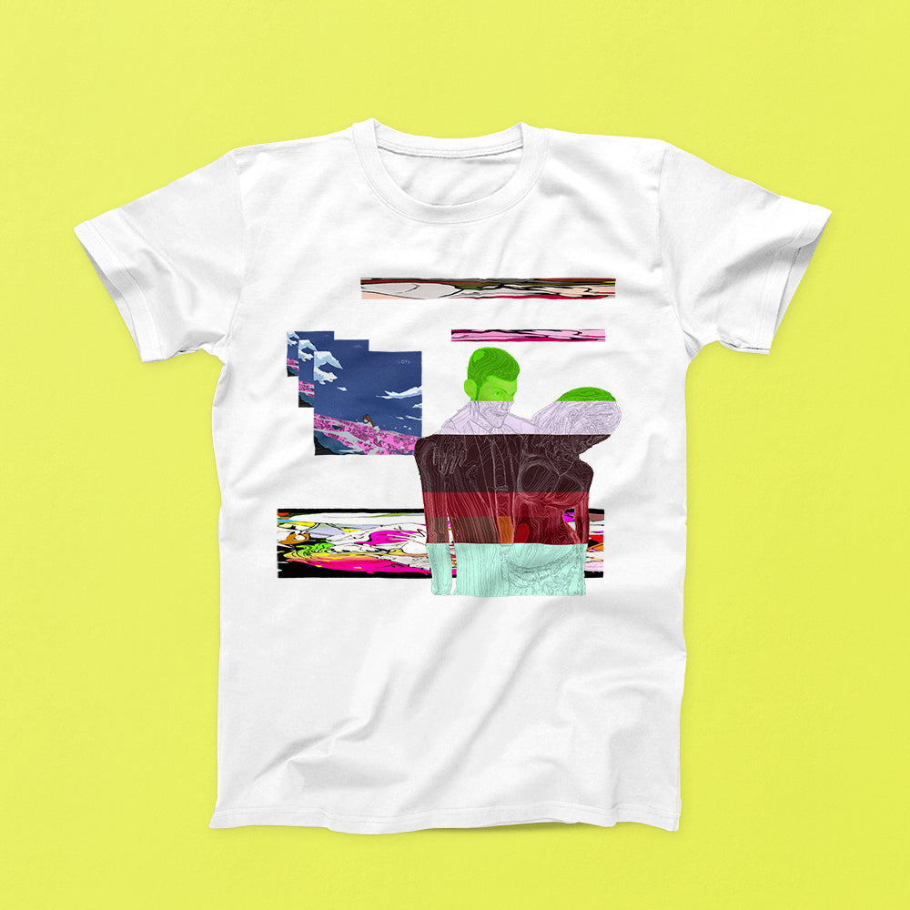 abstract street style anime shirt printed on white