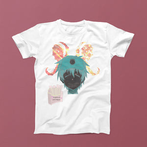 anime guy on white shirt with horns