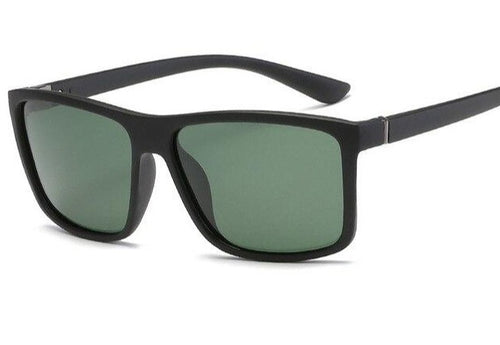 Lightweight square framed polarized sunglasses with green UV400 protection lenses